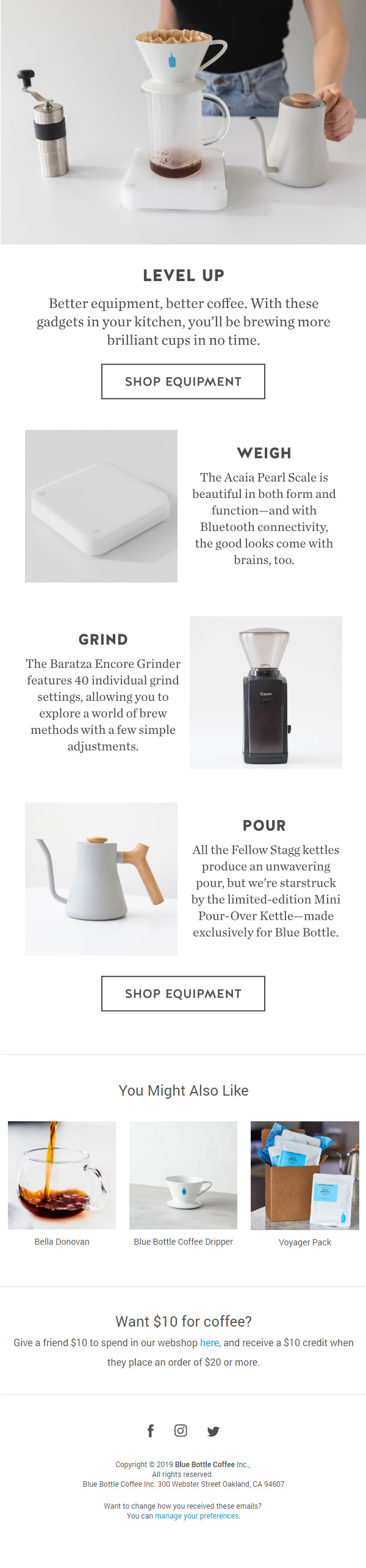 Email de Blue Bottle Coffee